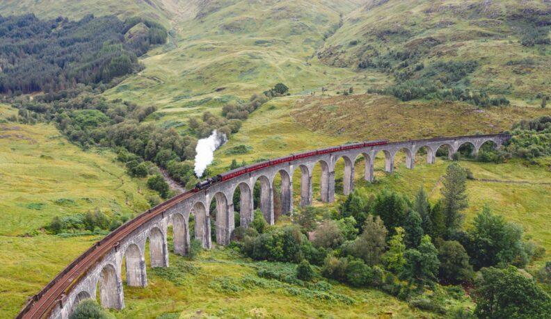 Train Passing through Glenfinnan Viaduct
